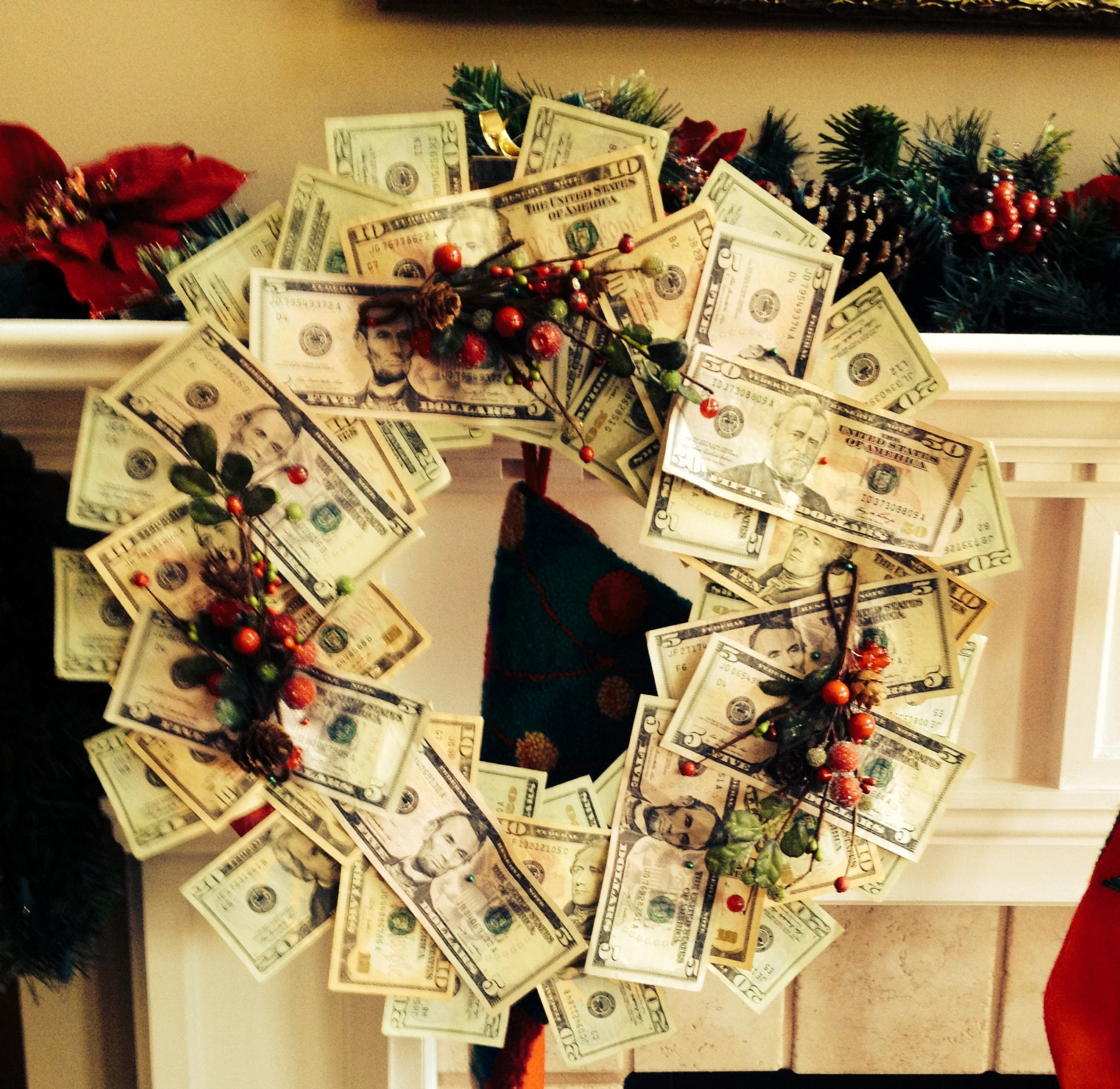 Giving money as a gift? Try this great money wreath! Just buy a foam wreath and pin the bills randomly. A unique twist on a simple gift.
