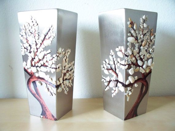Two Metal Hand Painted Vases With Seashells Shell Art Pinterest