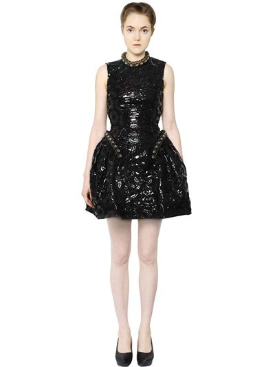 EMBROIDERED FAUX PATENT LEATHER DRESS