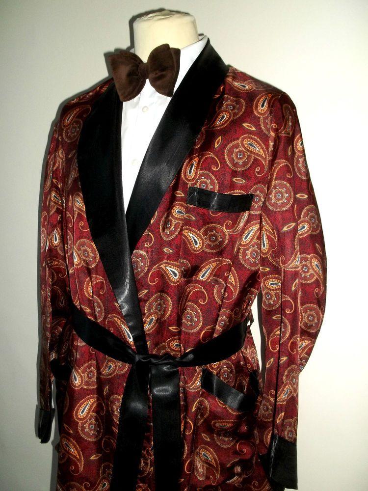 Vtg Mens 1950s 60s Paisley Tricel Paisley Smoking Jacket
