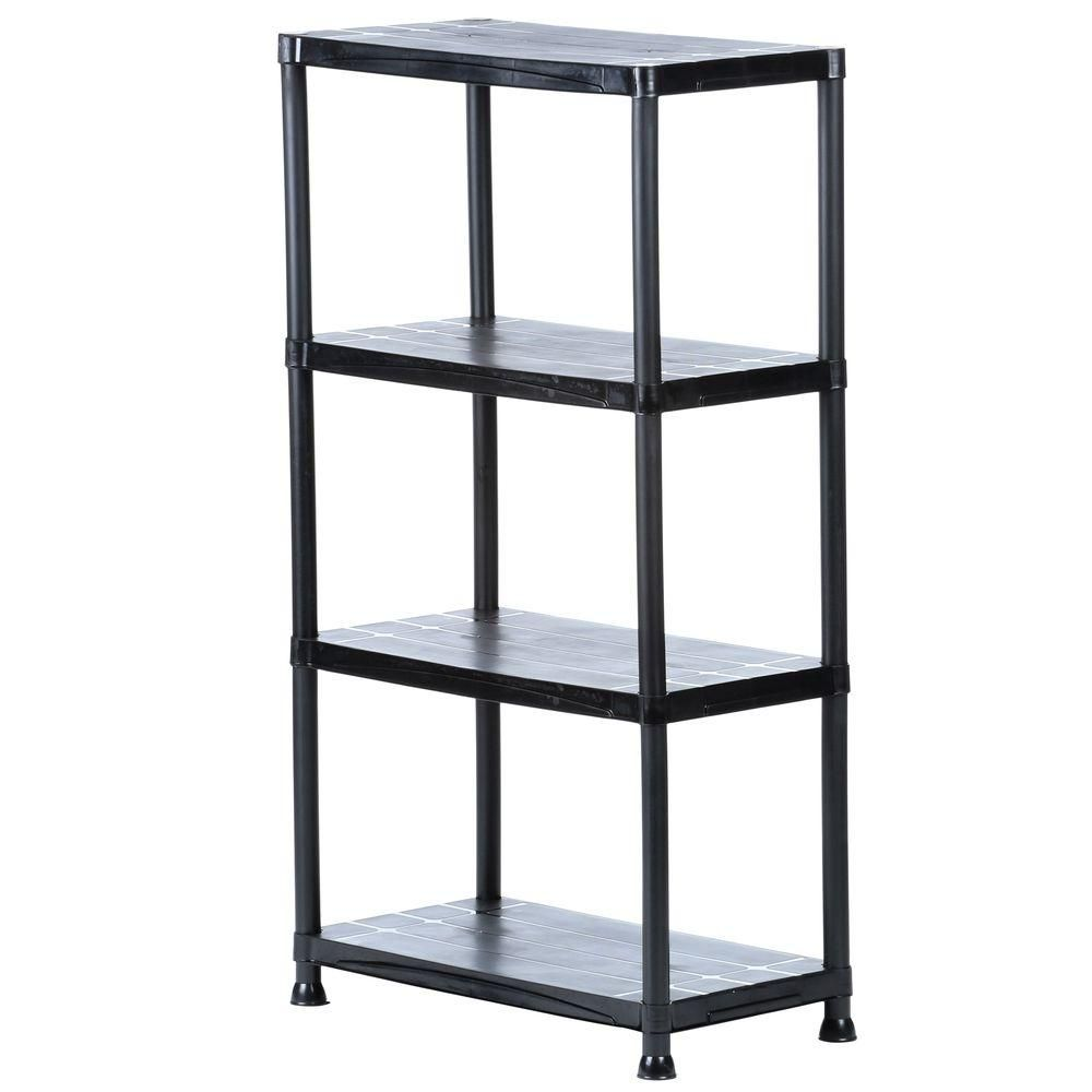 Hdx 4 Shelf 15 In D X 28 In W X 52 In H Black Plastic Storage Shelving Unit Storage Shelves Plastic Shelves Plastic Shelving Units