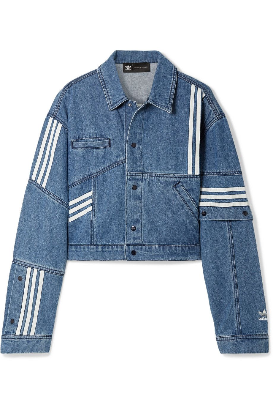 Adidas Originals Danielle Cathari Oversized Snap Embellished Patchwork Denim Jacket Net A Porter Com Kiyafet [ 1380 x 920 Pixel ]