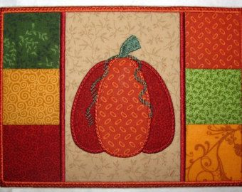 Machine Embroidery Design-Mug Rug-Pumpkin Patchwork with 2 sizes, 5x7 and 6x10 hoops