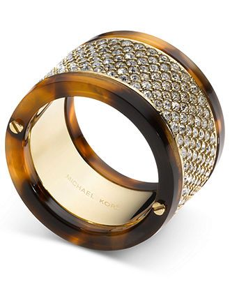 Michael Kors Ring, Gold-Tone Tortoise Pave Barrel Ring - Fashion Jewelry - Jewelry & Watches - Macy's