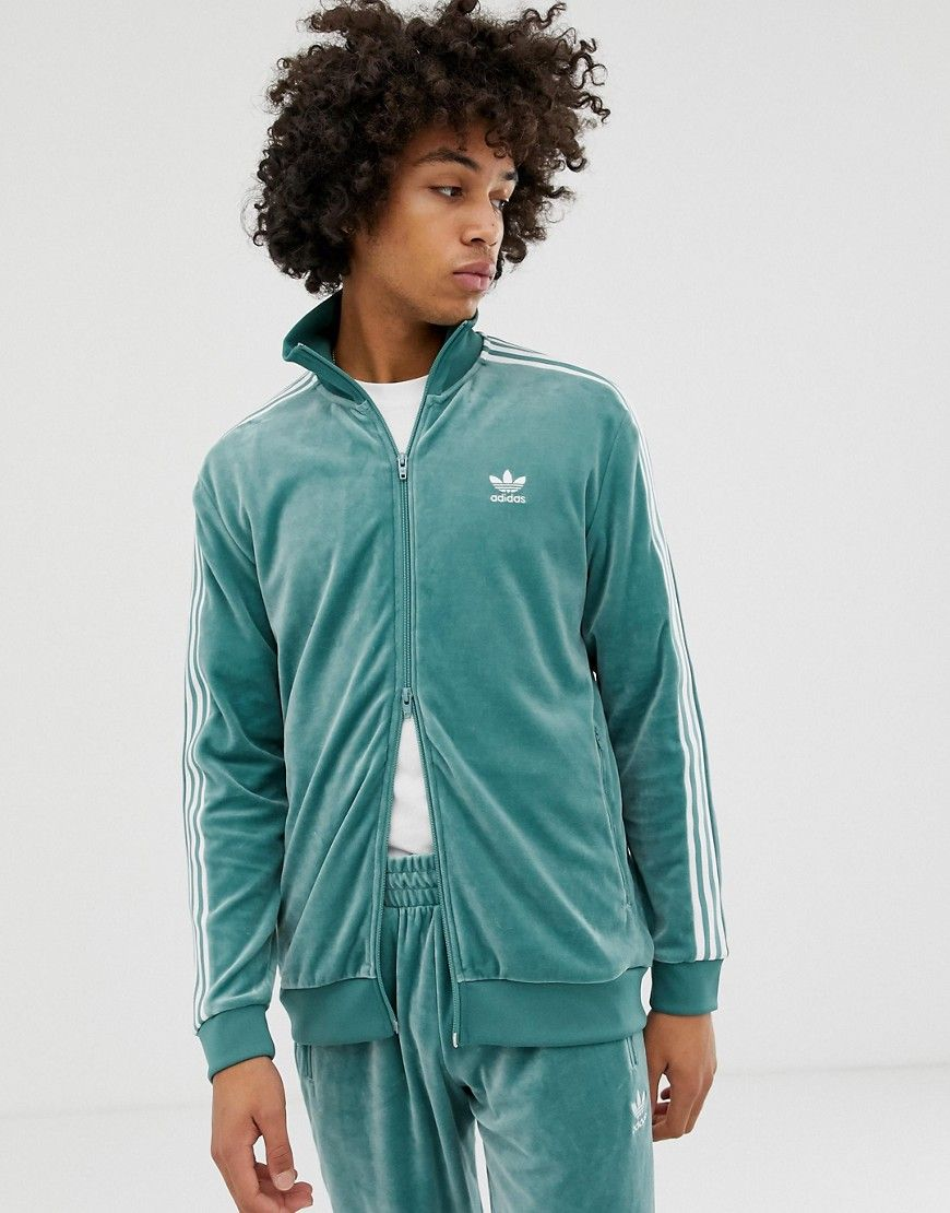 79e20ffe901b ADIDAS ORIGINALS VELOUR TRACK JACKET GREEN - GREEN.  adidasoriginals  cloth
