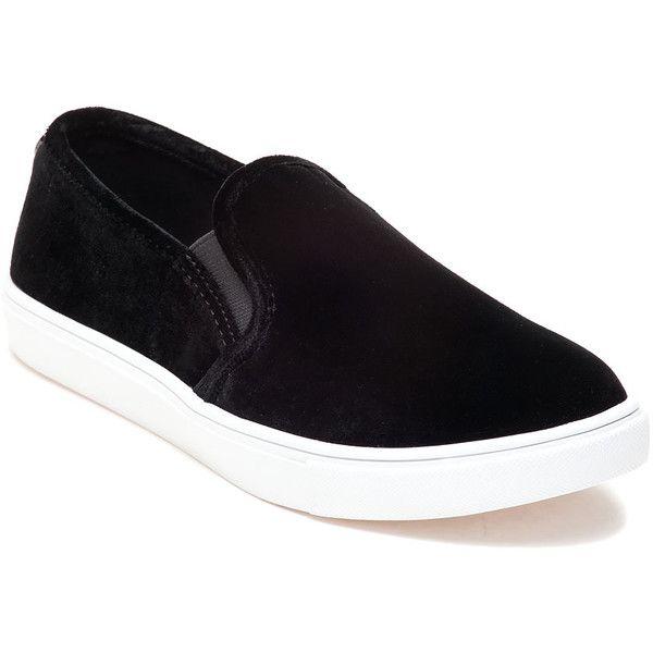 STEVE MADDEN Ecntrcv Black Velvet Slip On Sneaker (885 ARS) ❤ liked on  Polyvore featuring shoes, sneakers, black, slip-on shoes, slip-on sneakers,  ...