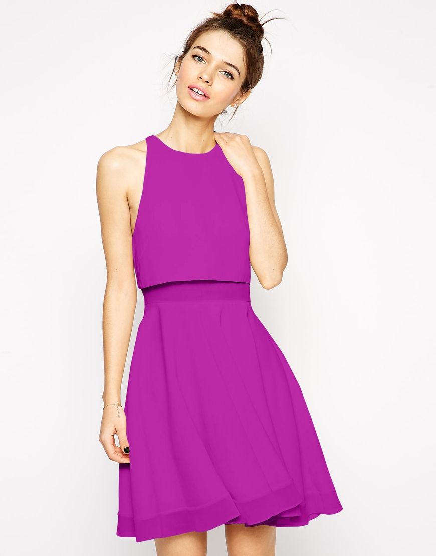 Image 1 of ASOS Sheer and Solid Skater Dress | Wedding guest outfits ...