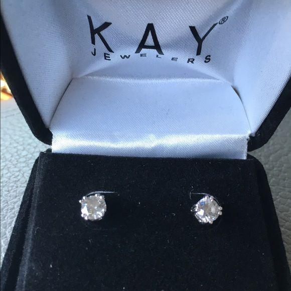 1 Carat Weight Diamond Studs Earrings In Sterling Silver Setting Kay Jewelers