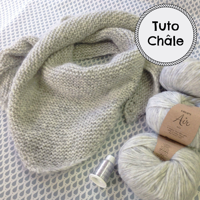 Tuto gratuit d un trendy châle en tricot à réaliser avec la Drops Air et un  fil Drops glitter tout en point mousse. Tricot rapide et facile à faire. 3b10468f8ef