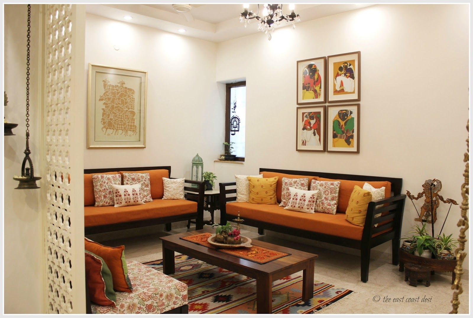 Modern indian home decor interior design style living room also with creamy white walls and an open arrangement in the floor plan rh ar pinterest
