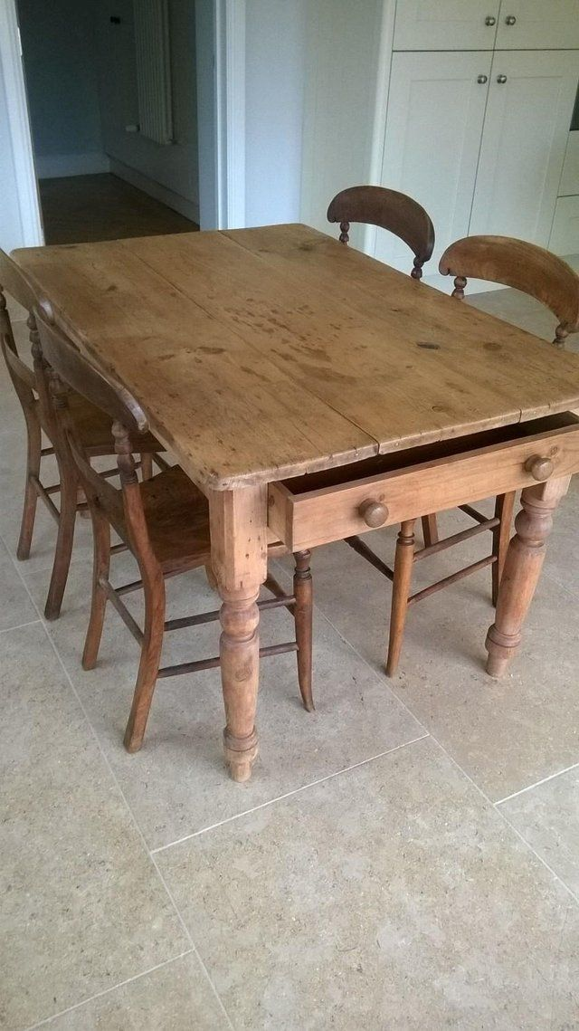 Antique Pine Farmhouse Dining Table & set of four chairs