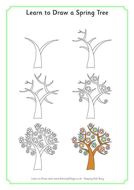 Learn To Draw A Spring Tree With Images Tree Drawing Family