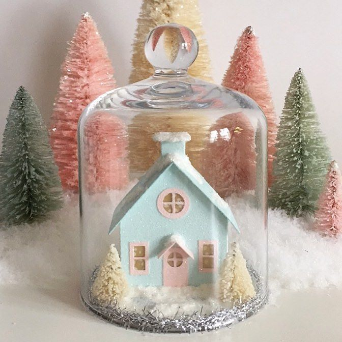 This little cloche from @crateandbarrel is just the perfect size for my putz house ornaments! Sweet!!  #etsyshop #putzhouse #diycrafts #papercraft  #winterdecor   #valentine #diyvalentines #glitterhouse #livecolorfully #cloche #makersgonnamake #creativityfound #pursuepretty #creativelifehappylife #abmlifeiscolorful