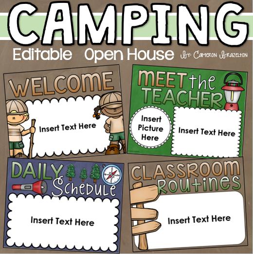 Back to School Open House Meet the Teacher Camping Camp Out Theme Editable #meettheteacherideas