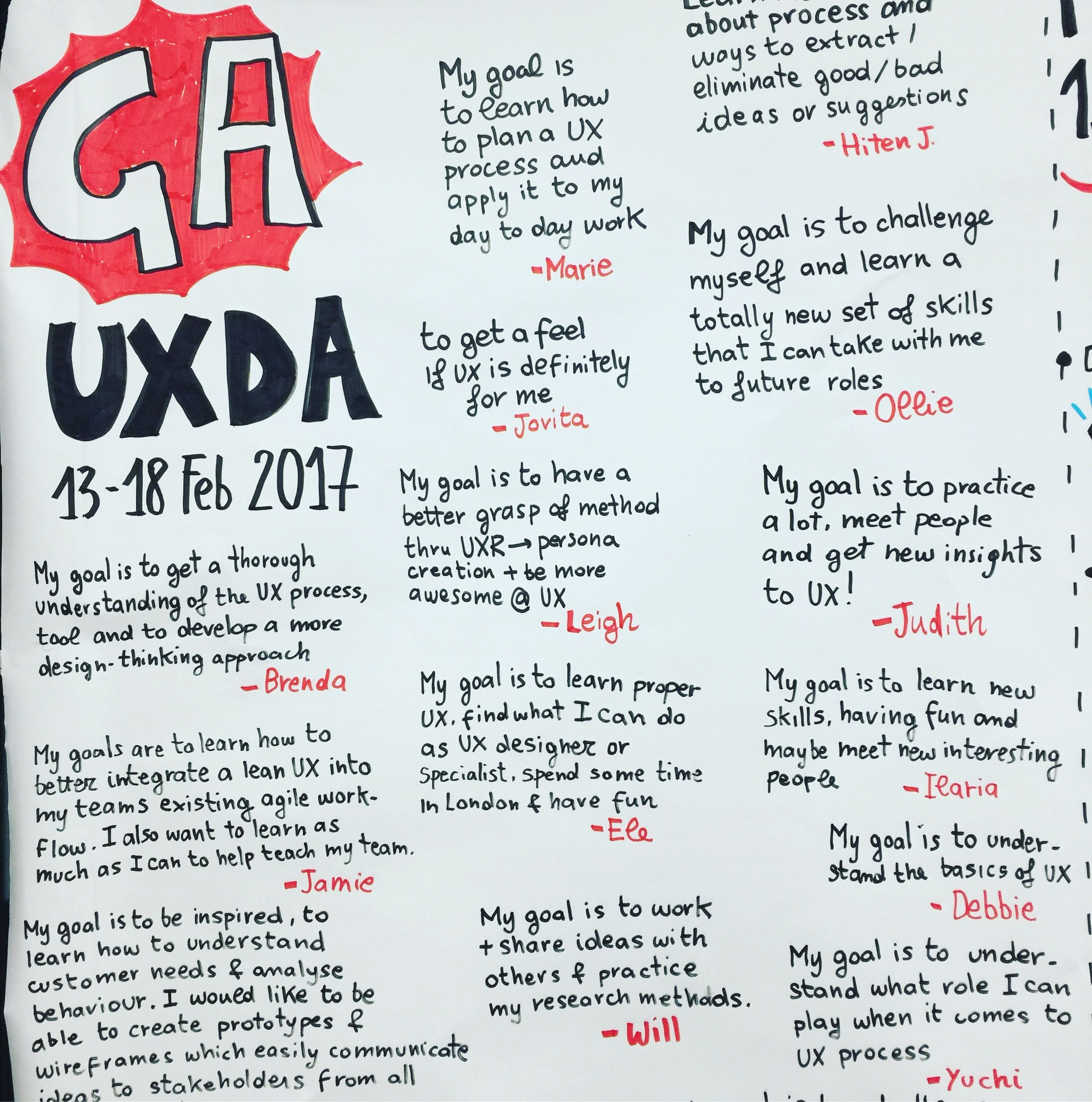 @saramichelazzo - graphic recording for @General Assembly London UXDA - User Experience Design Accelerator   * sketchnoting, graphic facilitation, recording, sketching, ideation process, experience design, generate ideas, storyboarding, presenting design