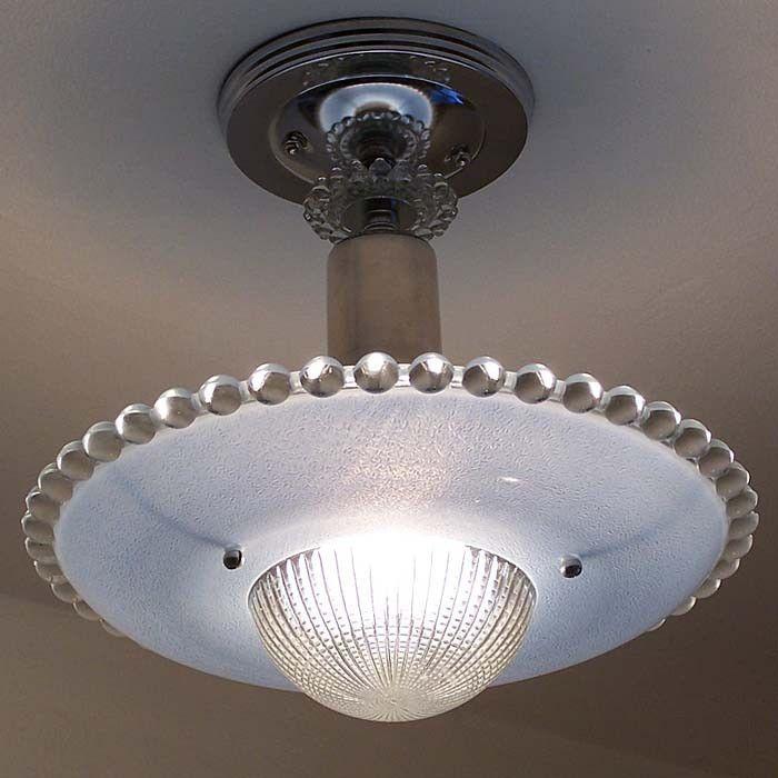 198 Vintage Antique 40s 50s Ceiling Glass Light Lamp Fixture Kitchen Colorcard De