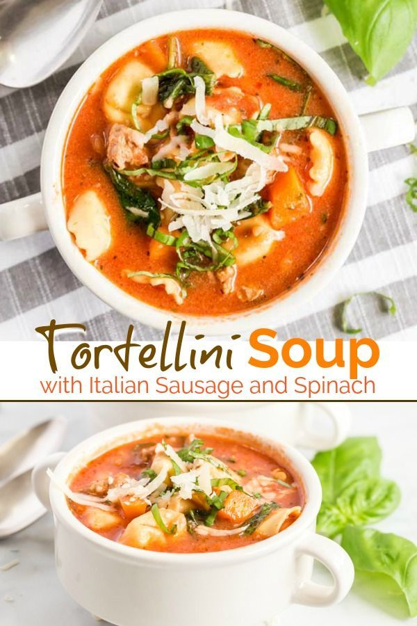 Tortellini Soup with Italian sausage, spinach and cheese tortellini is a simple and hearty soup sure to become a family favorite. If you love tasty and easy soup recipes, this one-pot meal is ready in 30 minutes!