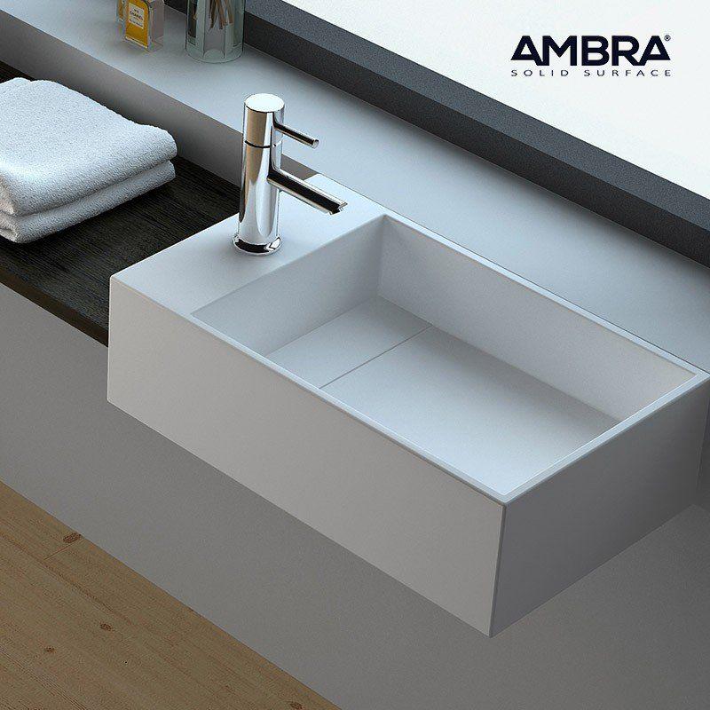 Vasque suspendue ou à poser, 50 cm en Solid surface - Manéa G - Meuble Vasque A Poser Salle De Bain