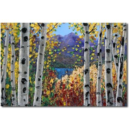 Mountain Meadow Iii Aspen Paintings Birch Tree Art By Jennifer