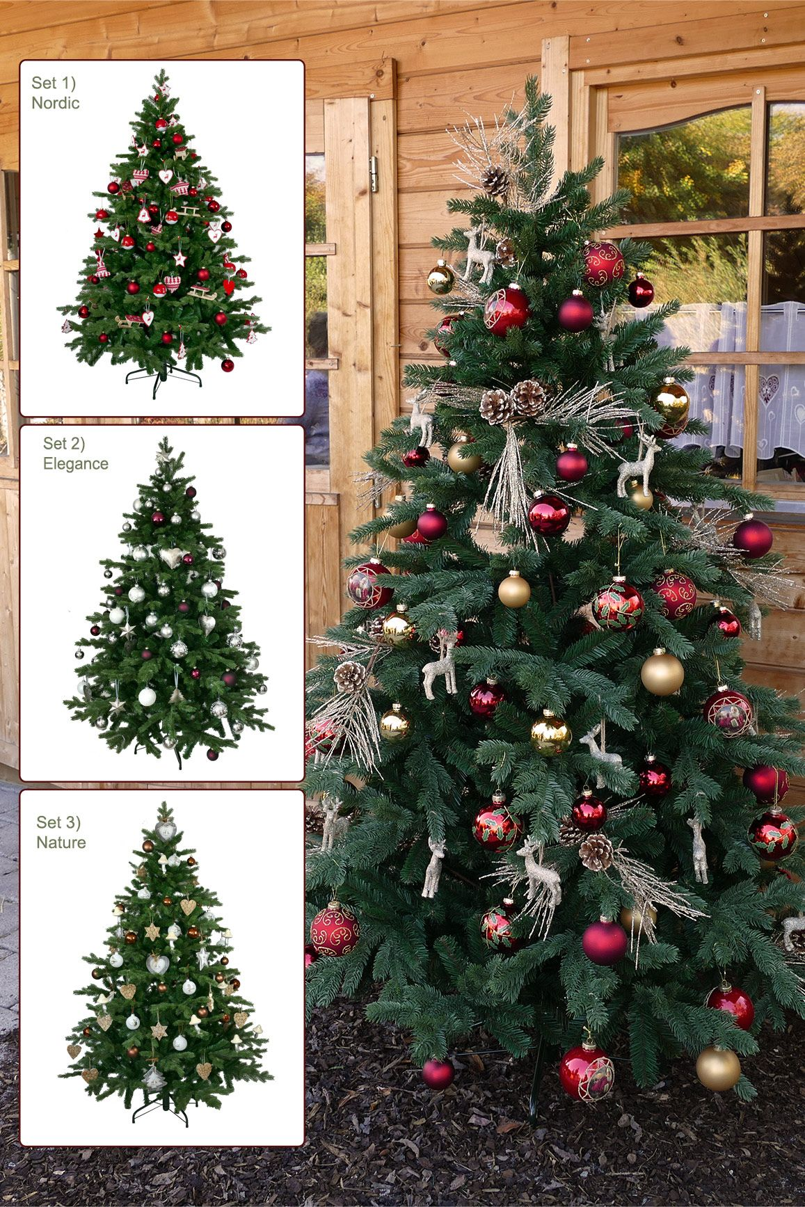 Geschmuckter Weihnachtsbaum 4x Set Mit Komplettem Schmuck Wahlen Sie