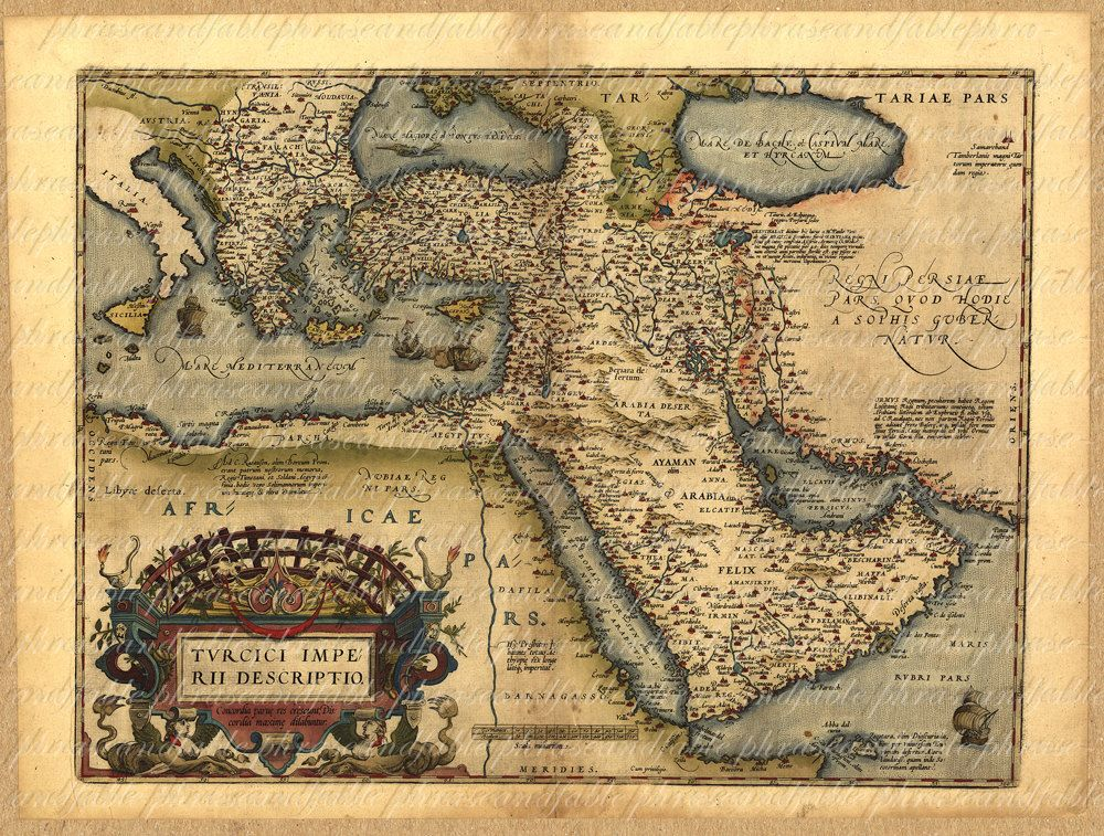 map of the middle east from the 1500s persia saudi arabia cyprus turkey iran iraq dubai israel digital 044 450 via etsy