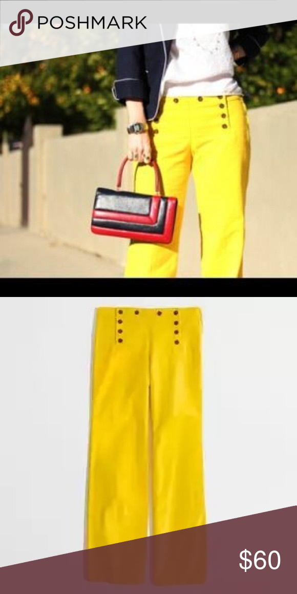 J Crew Yellow High Waisted Sailor Pant Size 8 In GUC, these darling pants are the perfect statement piece for your outfit. Wide legged they offer dimension and style. J. Crew Pants