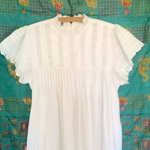 Victorian Style Cotton Gown Long and voluminous with side pockets. High neck with zipper at back neck. Fluttering cap sleeves. Dresses Maxi