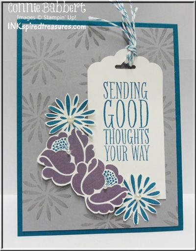I really like Connie's card - great color combo and layout! She used Simple Stems, Perfect Pennants, and the Scallop Tag Topper Punch. All supplies from Stampin' Up!