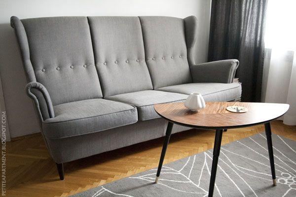 Ikea Strandmon Svanby Grey Three Seat Sofa Lovbacken Side Table And Gislev Rug Really Like This Sofa Wing Chair Sofa Room Seating Three Seat Sofa