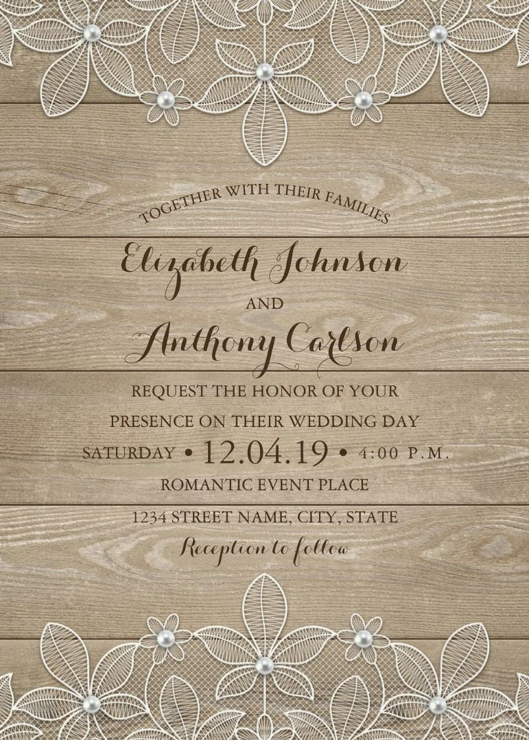 Best Rustic Country Wedding Invitations Feature A Beautiful Wood Lace And Pearls Background Unique Stylish Typography