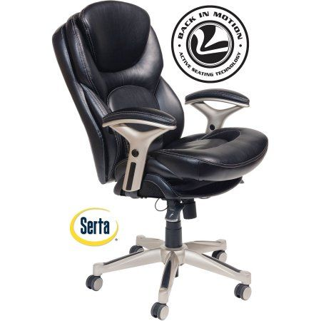 serta bonded leather executive chair best lightweight beach with canopy back in motion health and wellness mid office smooth black