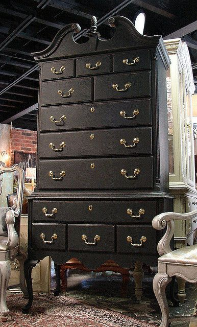 Black Painted Queen Ann Chippendale Highboy High Boy Dresser Chest