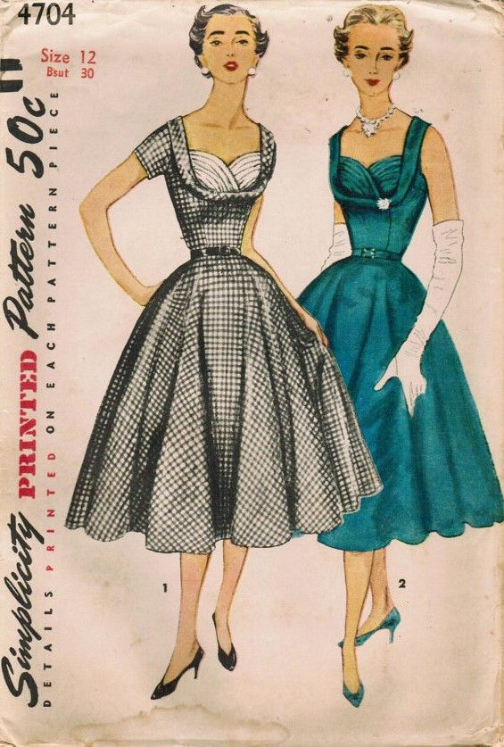 Simplicity 4704 - Vintage Dress Pattern from 1954