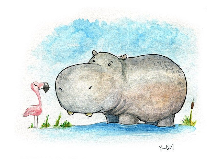 A Little Hippo Watercolor Print | Etsy