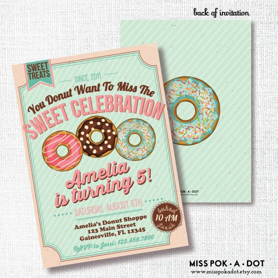 DONUT Birthday Party Invitation Breakfast Sweet Treats Donut Want To Miss The Celebration Pajama Pj Pancake