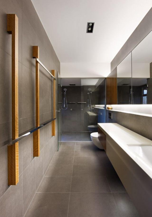 Wohnideen Badezimmer Fliesen Betonlook Moderne Handtuchhalter