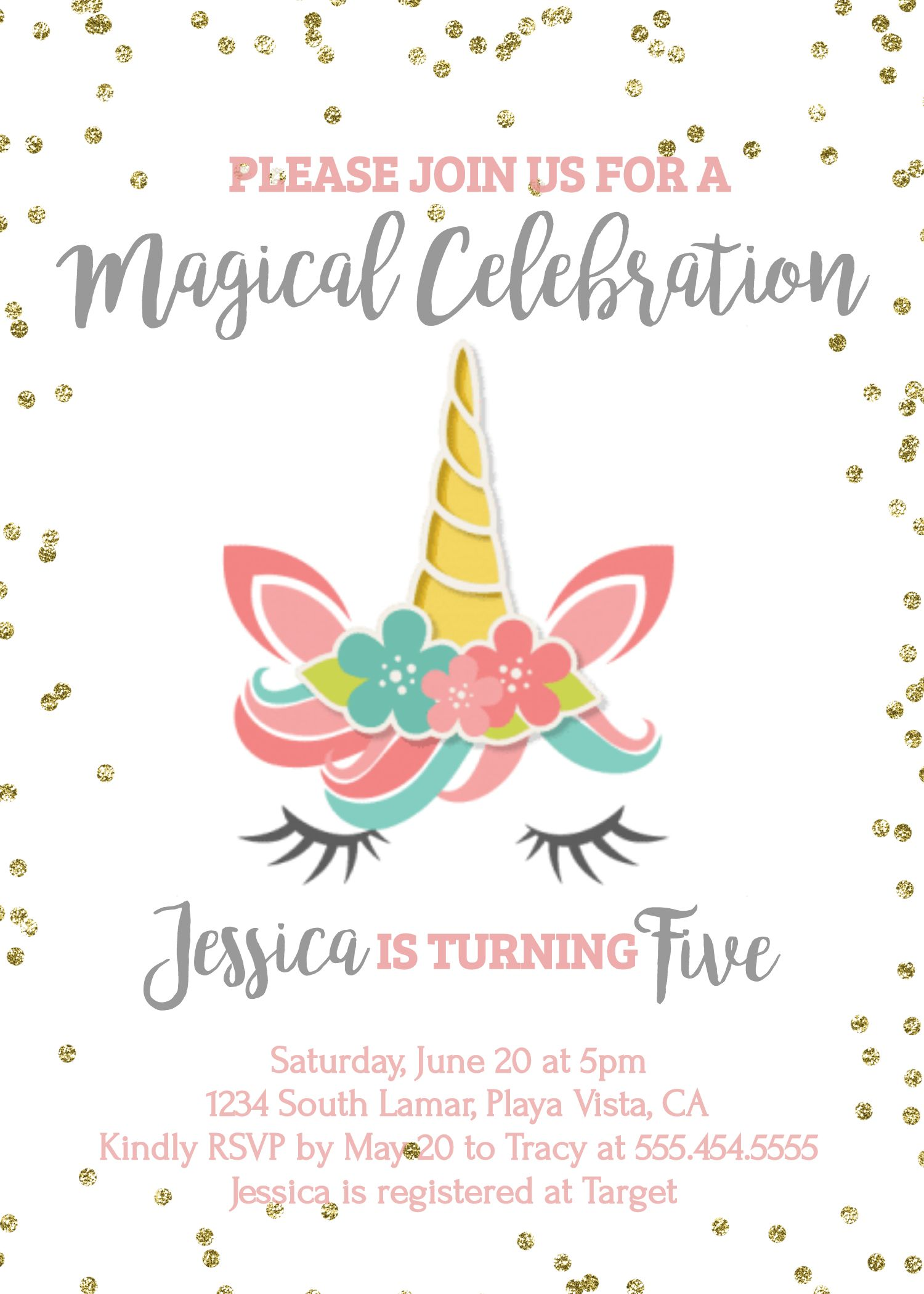 unicorn birthday invitation party invite printable pink gold