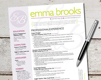 The Emma Resume Design  Graphic Design  Marketing  Sales