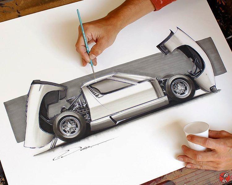 Excellent by @pinstripe_chris  #lamborghini #miura #art #luxury #industrialdesign #gatinky #art #luxury #modernart #arte #dibujo #inspiration #drawing #painting #design #carporn #car #beautiful #artemoderno #instagood #ink
