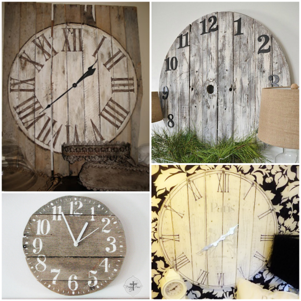Roundup 16 Pallet Clock Tutorials idees Pinterest Pallet