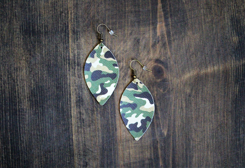 Faux leather camo earrings