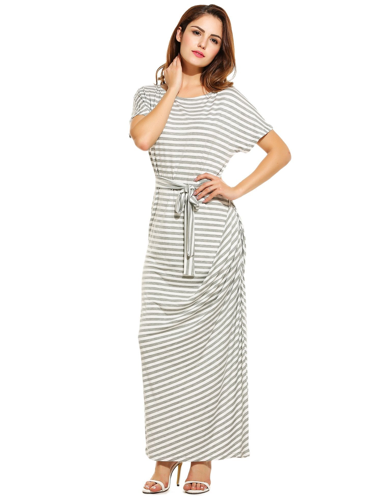 Gray women loose batwing short sleeve striped draped long maxi with