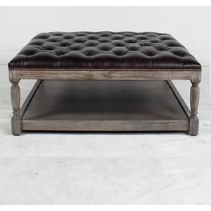 Sensational Square Thomas Leather Ottoman In Valencia Dark Brown Gamerscity Chair Design For Home Gamerscityorg