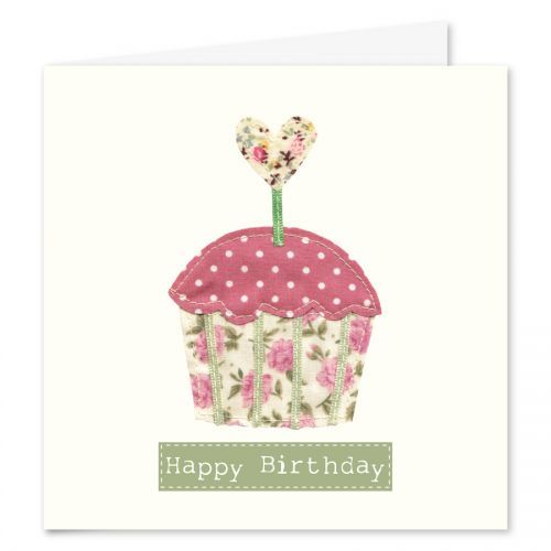 Fabric Cupcake Birthday Card by Kate Lewis Design GWAG – Cupcake Birthday Cards
