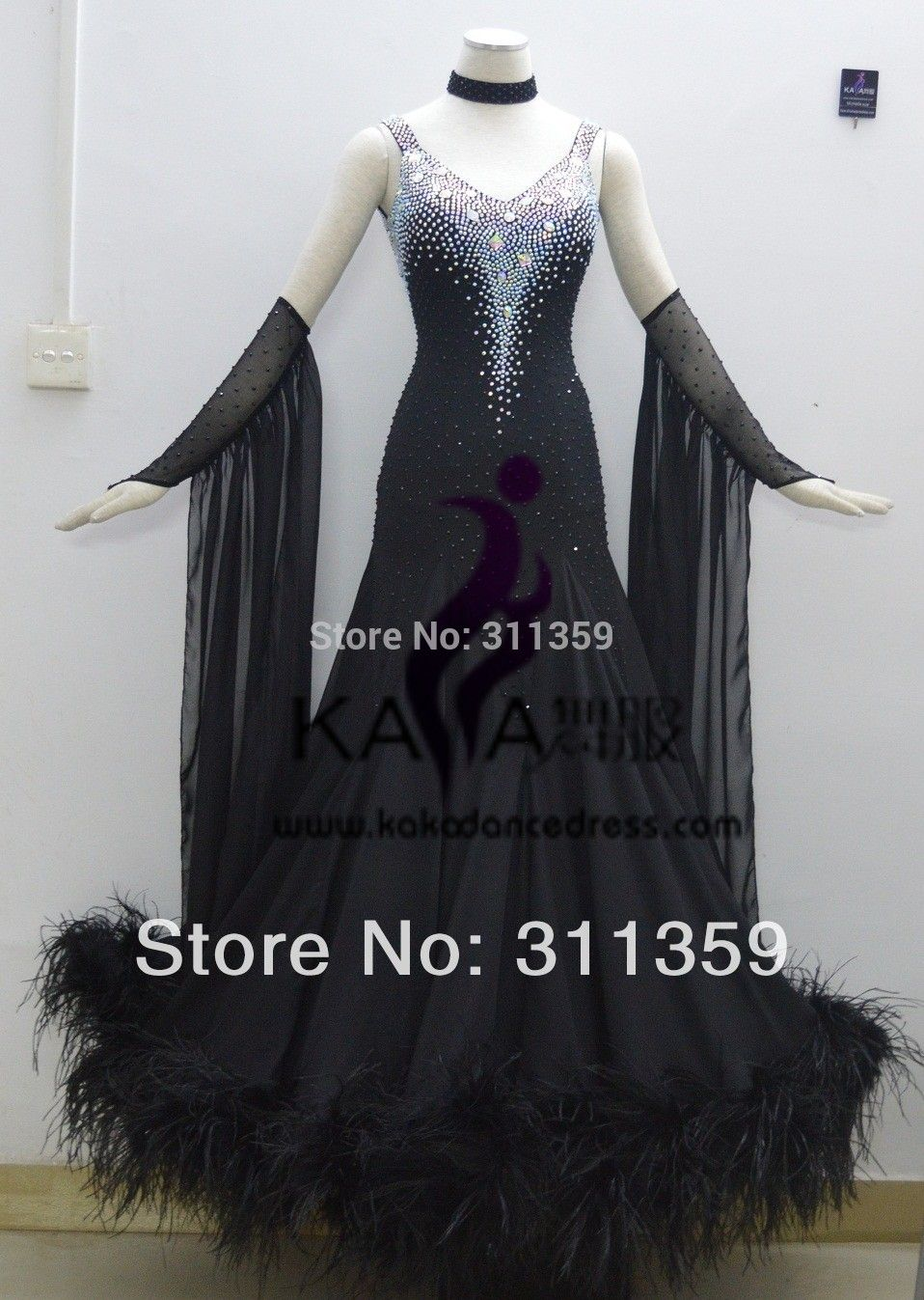 Kaka dance b new styleblack feather ballroom standard