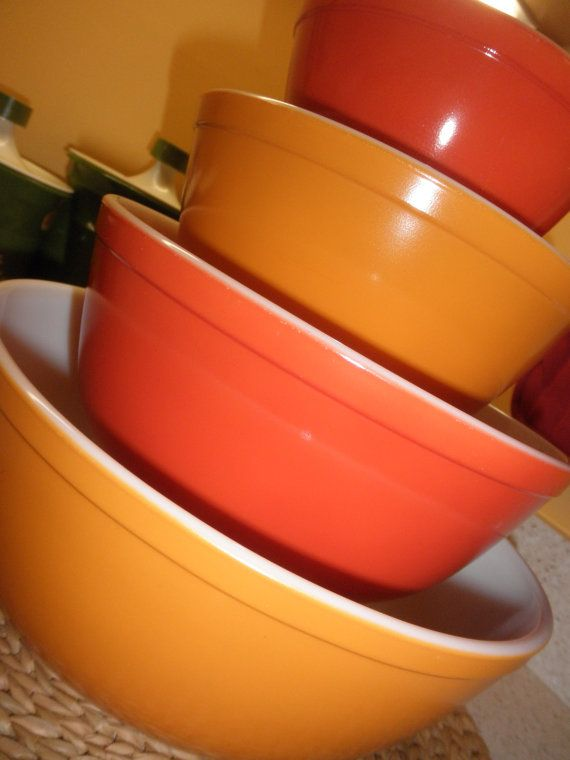 PYREX 4Pc Earth Tones/Brown Mixing Bowl Set RARE by PYREXPassion ...