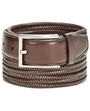 Ryan Seacrest Men's Leather Stretch Braided Dress Belt, Only at Macy's - Brown 38