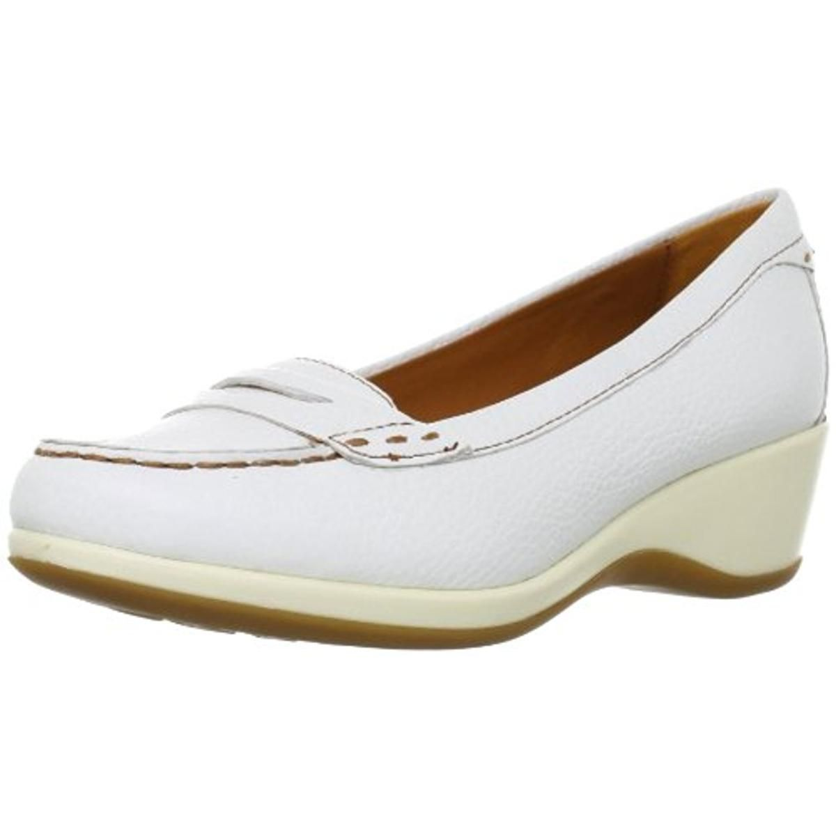 Geox 9490 Womens Tabitha Leather Contrast Trim Loafer Heels Shoes Bhfo