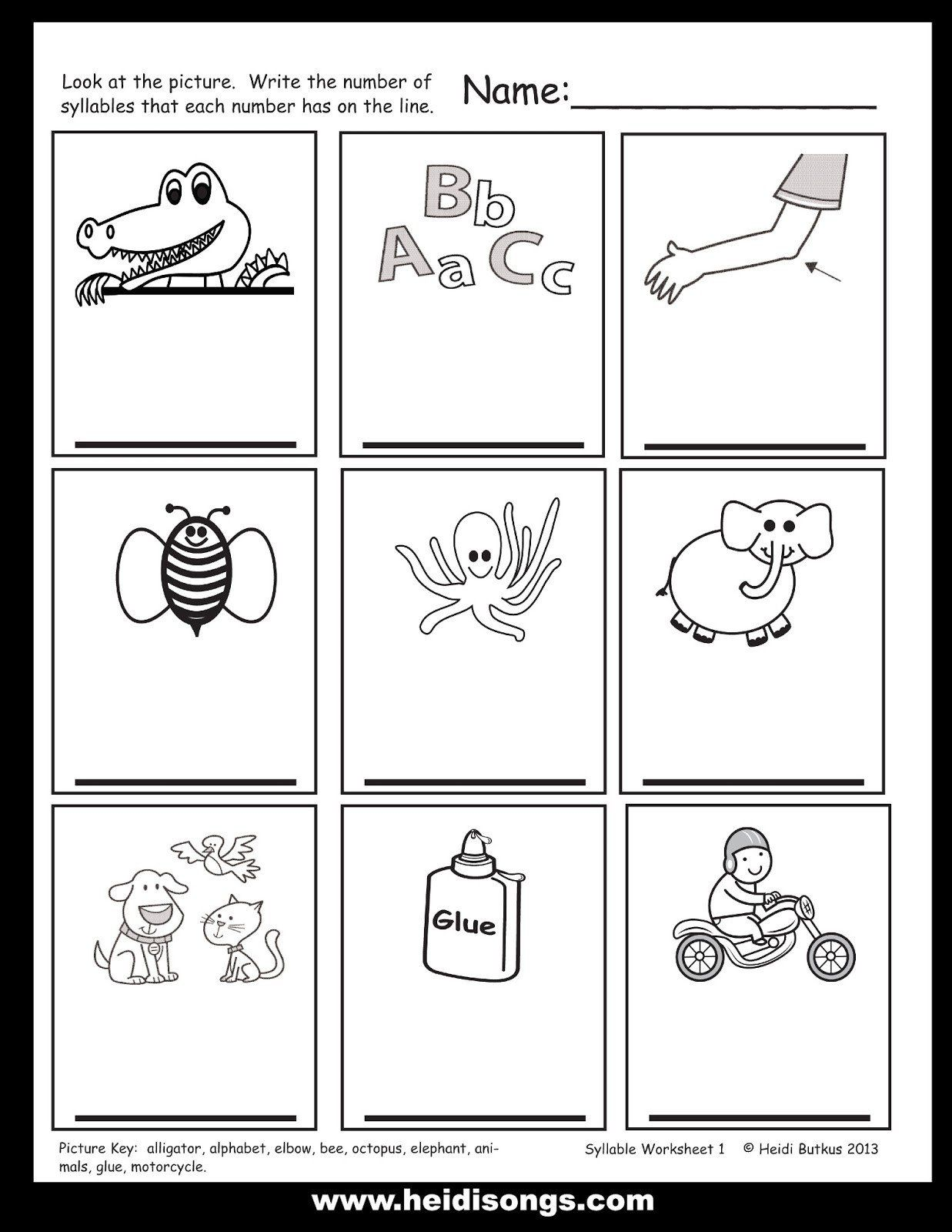 Syllables Worksheet For Kindergarten Copy Syllables