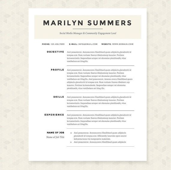 Classic Resume, Cover Letter U0026 References Template Package: Resume Design,  Cover Letter Design, CV And Resume Template   Instant Download